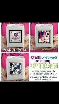 "Scentsy March 2014 Warmer of the Month ""THANK YOU"" gallery warmer..frame can be changed out. And also, receive a complimentary warmer of Scentsy's choosing for free!! March only!!  rebeccaamble.scentsy.us/"