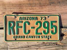 "Vintage 1973 Arizona License Plate ""Grand Canyon State""    #GrandCanyon #yellow #Arizona #vintage #RFC295 #LicensePlate #1973 #ManCave #green"