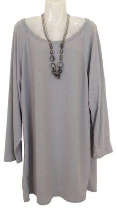 Damen Shirt - Kleid in Tunika-Stil mit Kette,Onesize/geeignet für Grösse 44 - 50