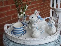 Welcome to my tea party. I am so glad you were able to stop by today for a cup of tea. I picked some flowers from the garden just for you. Tea Room Decor, Easter Table Decorations, Easter Decor, Blue Bunny, Easter Celebration, Easter Holidays, My Cup Of Tea, Easter Bunny, Tea Party