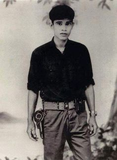 Young Hun Sen, Khmer Rouge soldier, 1970s.