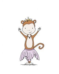 monkey princess art - safari princess collection - by sweet melody designs