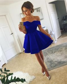 Short Satin V-neck Off Shoulder Homecoming Dresses 2018 Cock.- Short Satin V-neck Off Shoulder Homecoming Dresses 2018 Cocktail Party Dresses navy blue homecoming dresses,short prom dresses,short cocktail dress,semi formal dresses - Royal Blue Homecoming Dresses, V Neck Prom Dresses, Evening Dresses, Royal Blue Short Dress, Maxi Dresses, Dress Prom, Royal Blue Dresses, Strapless Homecoming Dresses, Blue Grad Dresses
