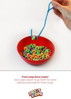 For my nephew! An easy and fun exercise to develop your young childs fine motor skills! With Froot Loops Gone Loopin Busy Bag all you need is a pipe cleaner bent into a hook with a loop handle and a bowl of dry Froot Loops for your child to Go Loopin! Motor Skills Activities, Kindergarten Activities, Fine Motor Skills, Activities For Kids, Froot Loops, Projects For Kids, Crafts For Kids, Book Bins, Teacher Books