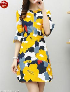sku:	F33283110A47 Color: 	Yellow Size: 	S M L Xl 2xl 3xl Collar_&_neckline: 	Round Neck Dress_silhouette: 	Fitted Embellishment: 	Patchwork Material: 	Polyester Occasion: 	Basic*casual Package_included: 	Dress*1 Pattern_type: 	Floral Printed Season: 	Summer Sleeve: 	Bell Sleeve Sleeve_length: 	Three Quarter Sleeve Style: 	Basic How_to_wash: 	Cold Gentle Machine Wash Supplementary_matters: 	All Dimensions Are Measured Manually With A Deviation Of 2 To 4cm. Processing Time:	7-12 Business Days