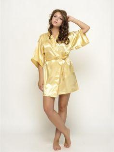 Satin Robes Yellow Bridesmaid Robes Bride Robes