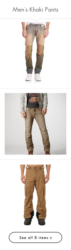 """""""Men's Khaki Pants"""" by eternalfeatherfilm on Polyvore featuring men's fashion, men's clothing, men's jeans, apparel & accessories, multi, mens straight leg jeans, brown, mens slim jeans, mens slim cut jeans and mens ripped jeans"""