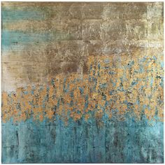 The bold swath of teal takes center stage and nicely offsets the mere suggestion of subjects on our hand-painted, substantial piece. Perfect for brightening a living room or den that's bathed in neutrals.