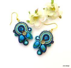 Blue Soutache Earrings Blue Earrings Crystal by ZinaDesignJewelry