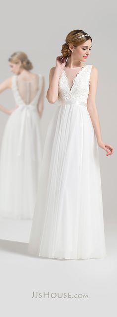 A-Line/Princess Scoop Neck Floor-Length Tulle Lace Wedding Dress With Bow(s)   #jjshouse