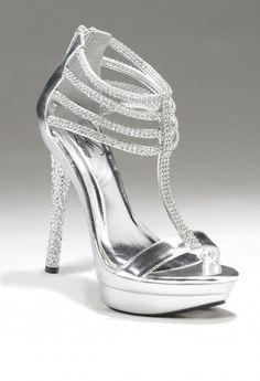 Camille La Vie Rhinestone Metallic Silver Platform Sandal