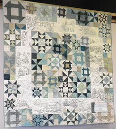 Snow Days quilt in teals, photo by Rose Ann Cook of Quilters Emporium (Texas). Posted at Knot-y Girl's Stitchery Club. Churn dash and star blocks with embroidery. Sampler Quilts, Star Quilts, Patch Quilt, Quilt Blocks, Star Blocks, Panel Quilts, Quilting Projects, Quilting Designs, Low Volume Quilt
