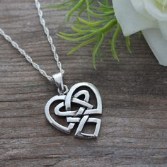 Irish Jewelry, Sterling Silver Celtic Heart Anniversary gift, Celtic knot Necklace, Most Popular Heart Celtic knot love, Celtic Jewelry, $31.80