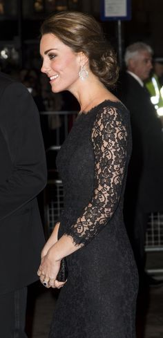 Kate looked glamorous in a new black lace Diane von Fustenberg gown. via @stylelist | http://aol.it/1xlGd0A