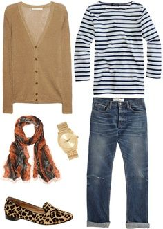 cute outfit with leopard flats - striped top, tan boyfriend cardigan