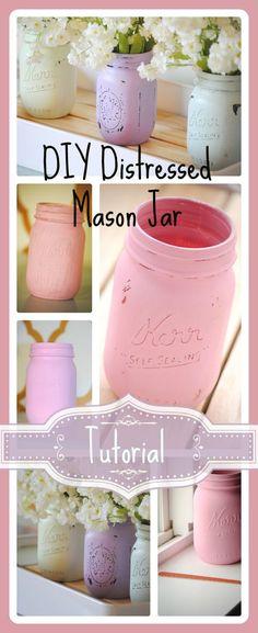 Distressed Mason Jar Tutorial. Step by step instructions for painting and distressing mason jars. #masonjars #redomom.com #diy