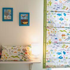 Ulalatela - Estores a medida infantiles únicos.  Estor mapa del paisaje de USA.  Tela Monaluna for Birch Fabrics Organic, Next Stop, Mapped