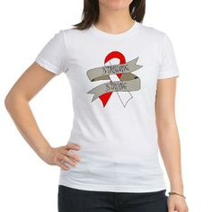 Aplastic Anemia Standing Strong shirts featuring a red and white ribbon #aplasticanemia #aplasticanemiaawareness #aplasticanemiashirts