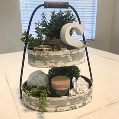 Farmhouse style table centerpiece for under $50! All items purchased from Hobby Lobby!