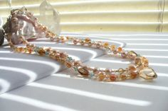 Peach Brown Golden Shadow and Pacific Opal by Sparklesalot2, $39.00