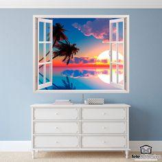 Vinilo decorativo Atardecer en Hawái Costa, Flat Screen, Decals, 3d, Mini, Furniture, Home Decor, Open Window, Special Effects