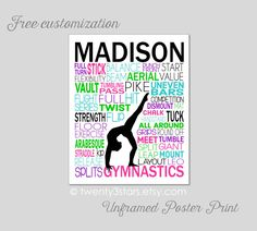 Gymnastics Typography Art Print, Perfect for Girl's Room Art, You Choose the Colors, Makes a Great Gift for any Gymnast by twenty3stars on Etsy