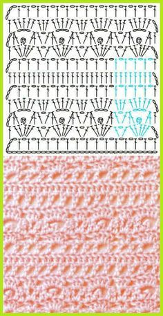 CROCHET - Lovely Feminine Wide Boarder Lattice Stitch Pattern (Asian Pattern, Found on Russian Website (allmyhobby. Crochet Stitches Chart, Crochet Diagram, Crochet Motif, Crochet Designs, Knitting Stitches, Knit Crochet, Crochet Patterns, Crochet Needles, Love Crochet