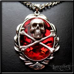 Red Skull Pendant Necklace, Skull Necklace, Antique SIlver SKull Jewelry, Gothic Necklace, Punk Necklace