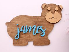 Baby Bear Nursery Decor, Bear Decor, Wooden Name Sign, Woodland Nursery Decor, Children's Decor, Bear Wall Art, Kids Room Door Name Plaque