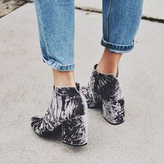 Been crushing on these? Our Cement Crushed Velvet JACLYN booties have just been restocked online & they won't last long!: