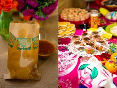 Left: Little baggies of tortilla chips for a salsa bar. Right: colorful food display.