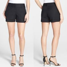 "Vince Camuto Flat Front Stretch Cotton Shorts Essential tailored shorts, soft, polished stretch cotton, wide waistband and cuffed hems. Impressive quality wash and wear shorts, with a zip fly, hook and bar closure, and inside button. Belt loops, front slant pockets, and back welt pockets. Dress them up with a blouse and heels or go casual with flats and a tee, wear-anywhere perfection.   Approximate measurements 15"" waistband, 8.5"" front rise, 14.5"" back rise, 3.5"" inseam  98% cotton 2%…"