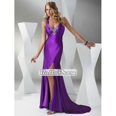 V-neck Criss-Cross Straps Beaded Backless Prom Dress PD34479 at belloprom.com