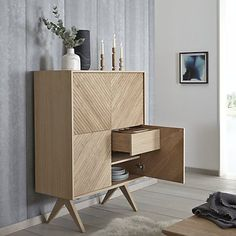 Buy Bethan Gray for John Lewis Newman Tall Sideboard, Oak from our View All Design range at John Lewis & Partners. Contemporary Dining Room Furniture, Wooden Furniture, Home Furniture, Furniture Design, Antique Furniture, Tall Sideboard, Sideboard Buffet, Console Table, Easy Wood Projects