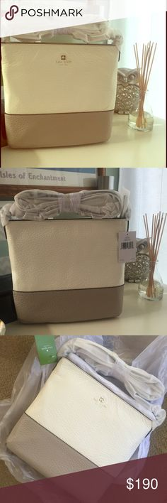 Kate Spade tan and cream crossbody Simple, classic and classy. Colorblock tan and cream leather. Pretty big, enough to probably put a tablet in. Very soft, striped inferior lining. Still wrapped up! kate spade Bags