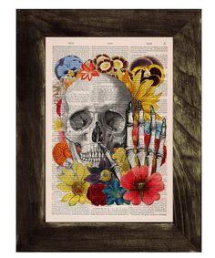 Vintage Book Print - Skull flower collage Print on Vintage Book