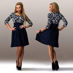New Fashion Lady Womens Casual Irregular Collar 3/4 Sleeve Print High Waist A-line Dress