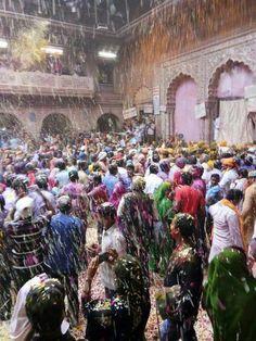 Holi at Bankey Bihari ji temple Vrindavan. Holi Colors, Krishna, Temple, Dolores Park, Travel, Viajes, Temples, Destinations, Traveling