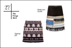 27. The Fringe Skirt A little bit '70s Palm Spring, a tad Coachella-cool, a bit real-time hippie. However you classify, one thing's for certain: fringe is here and swaying to the beat of its own drum. (It's tasseling its way into spring '15, too, so be warned.) To ease into the trend, try fringed accents on a sophisticated skirt so it's not so in-your-face.