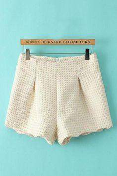 High Waist Jacquard Weave Tweed Winter Shorts