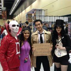 Justice League Dark costumes, cosplay.  Deadman, Madame Xanadu,  Constantine,  Zatanna.