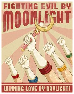 senshi-moon-empire:  Fighting Evil By Moonlight Vintage Poster by Karmada