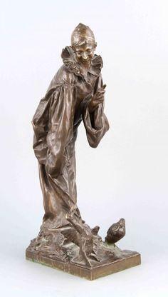 Cesar Costantino R. Ceribelli (1841-1918), ital. Bildhauer, Pierrot beim Füttern zweierEnten, rotbr — Skulpturen, Plastiken, Installationen, Bronzen, Relief