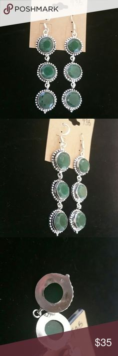 Genuine Natural Emerald Earrings Set in Solid Sterling Silver as well as hooks  Please see all pictures for details. Brand New. Never Worn. Wholesale cost. Thankyou for looking :) Jewelry Earrings