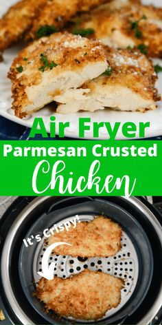 Air Fryer Parmesan Crusted Chicken - Adventures of a Nurse - - Air Fryer Parmesan Crusted Chicken is a satisfying and easy air fryer chicken recipe! Juicy air fryer chicken that is coated in Parmesan mix and then air fried! Air Fryer Oven Recipes, Air Frier Recipes, Air Fryer Dinner Recipes, Air Fryer Chicken Recipes, Recipes For Airfryer, Air Fryer Recipes Appetizers, Recipe Chicken, Easy Dinner Recipes, Dinner Ideas