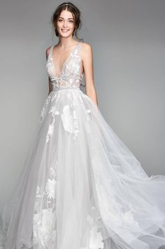Willowby Galatea Embroidered Tulle Ballgown #WeddingGown #WeddingDress Whimsical Wedding Dresses, Grey Wedding Dresses, Wedding Dress 2018, Tule Wedding Dress, French Wedding Dress, Bridal Wedding Dresses, Evening Wedding Dresses, Bridal Style, Delicate Wedding Dress
