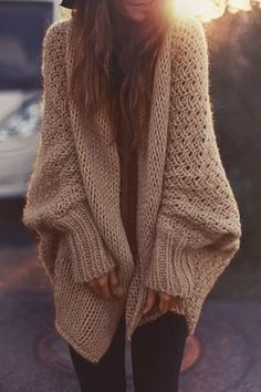Solid Color Knitted Loose Fitting Batwing Sleeves Cardigan KHAKI: Sweaters | ZAFUL