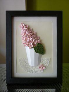 """Reservado !!! Y artesanal Quilling de papel arte de la pared """"Sunny lila"""" (Felicitaciones, cumpleaños, aniversario, día de la tierra, día de la madre)"""