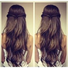 long, wavy hair with simple braid