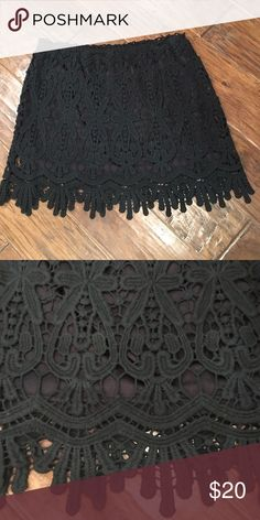 """Crochet Lace Skirt Excellent condition!  Worn one time. Black crochet lace mini skirt. Elastic waist.  Lined.  Length approx 15.5"""". Skirts"""